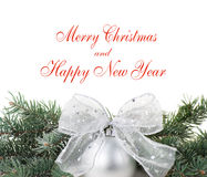 Christmas decorations with branch of tree on white Royalty Free Stock Image