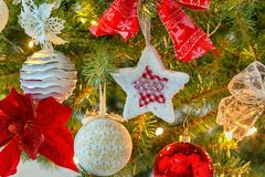 Christmas decorations. On the branches fir royalty free stock photography