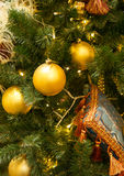 Christmas decorations on the branches fir Royalty Free Stock Image