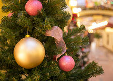 Christmas decorations on the branches fir Royalty Free Stock Photography
