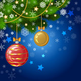 Christmas decorations on the branches fir, Christmas vector. Background Stock Image