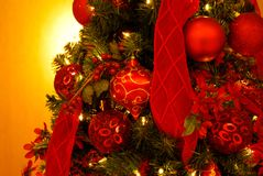 Christmas decorations on branches of fir Royalty Free Stock Image