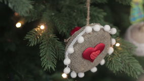 Christmas decorations on the branches fir Heart stock video