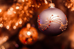 Christmas decorations on the branches fir Royalty Free Stock Photo