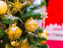 Christmas decorations on the branches of fir tree Royalty Free Stock Photo
