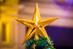Christmas decorations on the branches of fir tree Royalty Free Stock Image