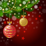 Christmas decorations on the branches fir. Christmas vector background Royalty Free Stock Image