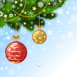 Christmas decorations on the branches fir. Christmas vector background Royalty Free Stock Photo