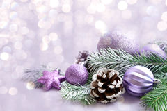 Christmas decorations on bright background. Christmas decoration on bright background with free space.Celebration balls and other decoration Royalty Free Stock Photos