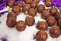 Christmas decorations brown balls Royalty Free Stock Image