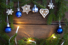 Christmas Decorations building Frame with Copy Space Stock Photo