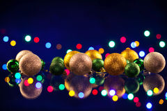Christmas decorations bulb and lights Stock Photo
