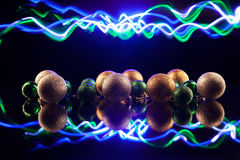 Christmas decorations bulb and lights Royalty Free Stock Photo