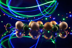 Christmas decorations bulb and lights Royalty Free Stock Images