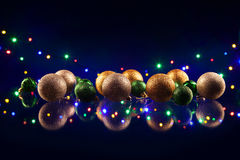 Christmas decorations bulb and lights Stock Photography