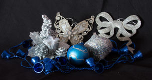 Christmas decorations with butterfly, balls and bells Stock Image