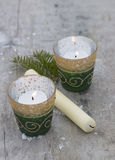 Christmas decorations with candels. On wooden background Stock Image