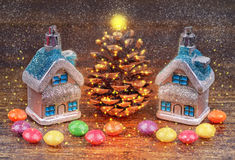 Christmas decorations, candies.Toned image.Selective field of focus. Royalty Free Stock Image