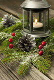 Christmas decorations with  candle holder Royalty Free Stock Photography