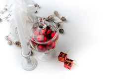 Christmas decorations and candle Stock Photo