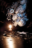 Christmas decorations with a candle royalty free stock photo