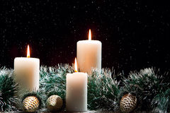 Christmas decorations with candles Royalty Free Stock Image