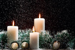 Christmas decorations with candles stock photo