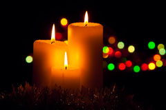 Christmas decorations with candles Royalty Free Stock Images