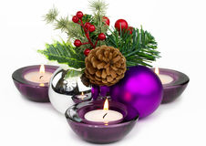 Christmas decorations and candles Royalty Free Stock Photos