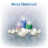 Christmas decorations and candles Royalty Free Stock Image