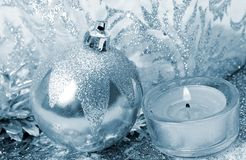 Christmas decorations and candles royalty free stock photography