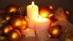 Christmas Decorations and Candles stock footage
