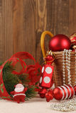 Christmas decorations and candy Santa Claus near fir branches Stock Image