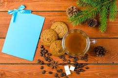Christmas decorations and card for your text on the wooden table Stock Photo