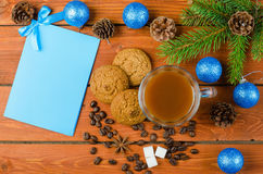 Christmas decorations and card for your text on the wooden table Royalty Free Stock Photography