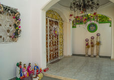 Christmas decorations in caribbean style. Beautiful decorated entrance to Mexican house Royalty Free Stock Images