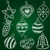 Christmas decorations  - chalk on schoolboard Stock Photos