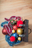 Christmas decorations in a ches Stock Image
