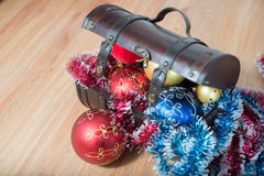 Christmas decorations in a ches Stock Photography