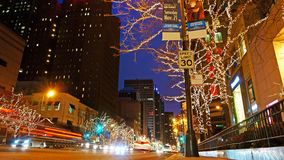 Christmas Decorations, Chicago. Christmas decorations and lights at night on Michigan Avenue, Chicago, Illinois, USA Royalty Free Stock Photos