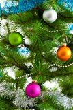 Christmas decorations.  Christmas ball and green spruce branch Stock Photos