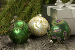 Christmas decorations with christmas baubles Stock Photo