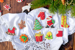 Christmas decorations with Christmas cookies. On a wooden background for Christmas time Stock Photography