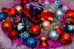 Christmas decorations and Christmas gifts Royalty Free Stock Image