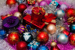 Christmas decorations and Christmas gifts Royalty Free Stock Images