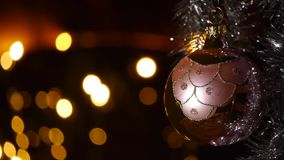 Christmas decorations - Christmas lights - Bokeh effect stock video footage