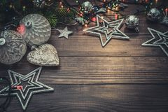 Christmas decorations with christmas lights Royalty Free Stock Photo