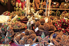 Christmas decorations at a Christmas market Stock Image