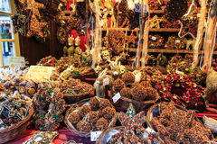 Christmas decorations at a Christmas market Royalty Free Stock Photo