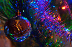 Christmas decorations on the Christmas tree Royalty Free Stock Photos